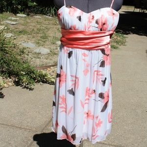 White and pink floral formal dress